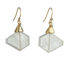 Dangling Hexagons by Natalie Frigo (Brass & Stone Earrings)