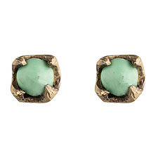Varascite Studs by Natalie Frigo (Brass & Stone Earrings)