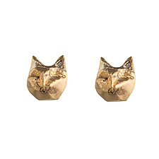 Tiny Cat Studs by Natalie Frigo (Brass Earrings)