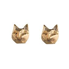 Tiny Cat Studs by Natalie Frigo (Brass Earrings)