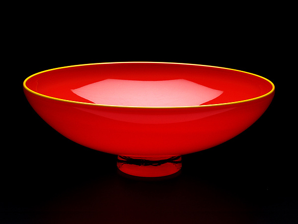 Opaque Red Bowl with Yellow Lip