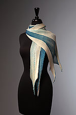 Silk Single Pleat Scarf in Ivory and Indigo by Laura Hunter  (Silk Scarf)
