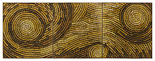 Gold Coils Triptych by Tim Harding (Fiber Wall Art)