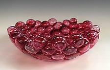 Schiuma Vetro Terrina in Cranberry by Jennifer Nauck (Art Glass Bowl)