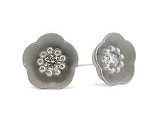 Cherry Blossom Stud #1 in Silver and Diamonds by Catherine Iskiw (Silver & Stone Earrings)