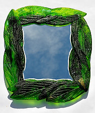 Dappled Green Leaf Mirror by Mark Ditzler (Art Glass Mirror)