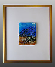 Blue Canyon at Dusk by Alice Benvie Gebhart (Art Glass Wall Sculpture)