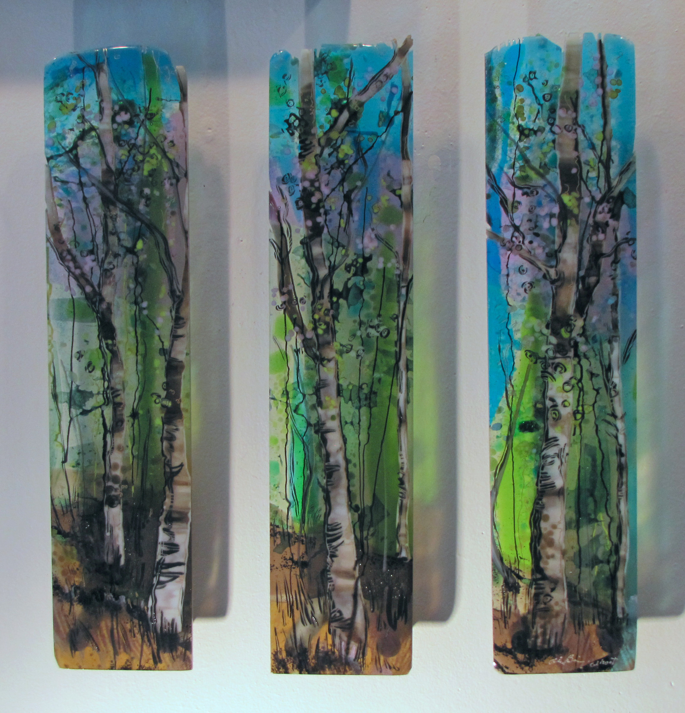 Three part harmony by alice benvie gebhart art glass wall for Large glass wall