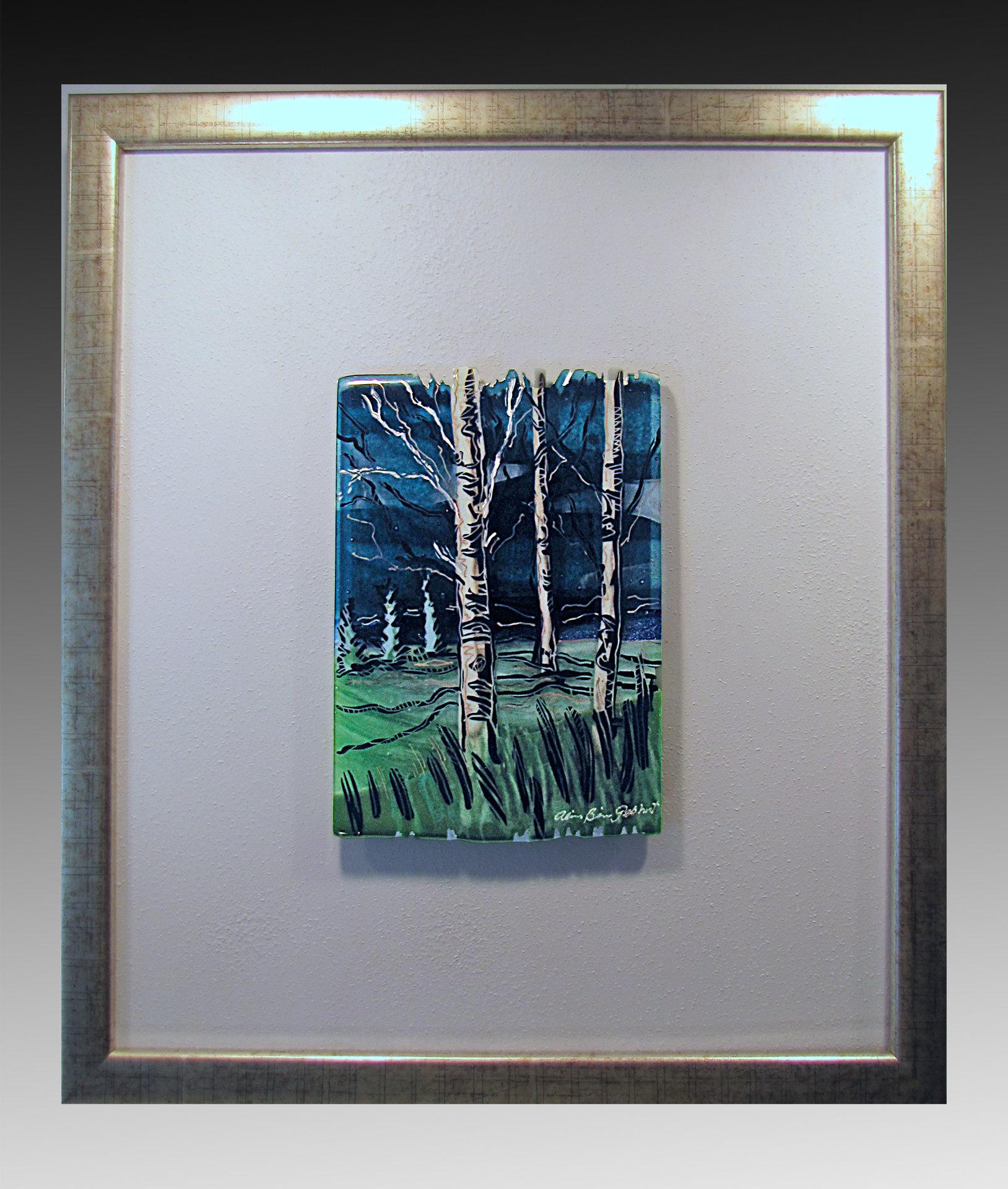 Three Birches By Alice Benvie Gebhart Art Glass Wall