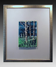 Three Birches by Alice Benvie Gebhart (Art Glass Wall Sculpture)