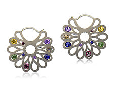 Elizabeth Earrings with Gemstones by Erik Stewart (Silver & Stone Earrings)
