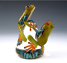 Red-Eyed Tree Frogs Paperweight by Eric Bailey (Art Glass Paperweight)