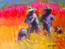 Ranuncula Field Workers by Joan Skogsberg Sanders (Pastel Painting)