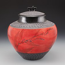 Oriental Jar in Red with Grasses by Suzanne Crane (Ceramic Vessel)
