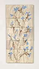 Blue Flower Bed by Kristi Sloniger (Ceramic Wall Sculpture)