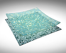 Turquoise and French Vanilla Murrini Platter by Joseph Enszo (Art Glass Platter)