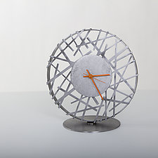 Adore Clock with Orange Hands by Ken Girardini and Julie Girardini (Metal Clock)