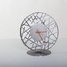 Adore Clock with Orange Hands by Ken Girardini and Julie Girardini (Metal Clock)