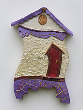 Painted Lady with a Red Door by Byron Williamson (Ceramic Wall Sculpture)
