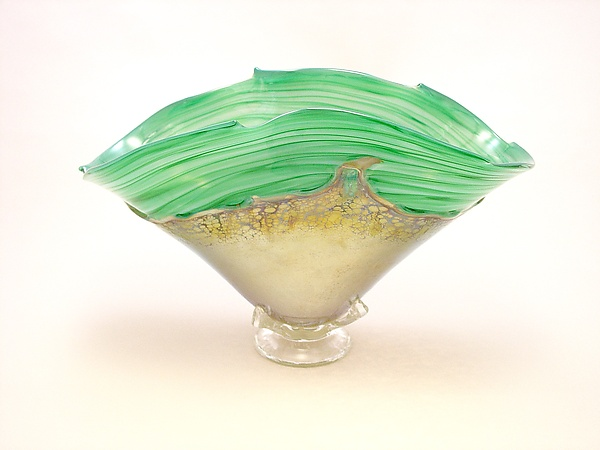 Green and Gold Overlay Bowl