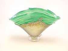 Green and Gold Overlay Bowl by Dierk Van Keppel (Art Glass Vessel)