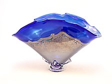Cobalt and Gold Overlay Bowl by Dierk Van Keppel (Art Glass Vessel)