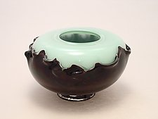 Green and Black Overlay Seed Bowl by Dierk Van Keppel (Art Glass Vessel)