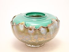 Green and Gold Overlay Seed Bowl by Dierk Van Keppel (Art Glass Vessel)