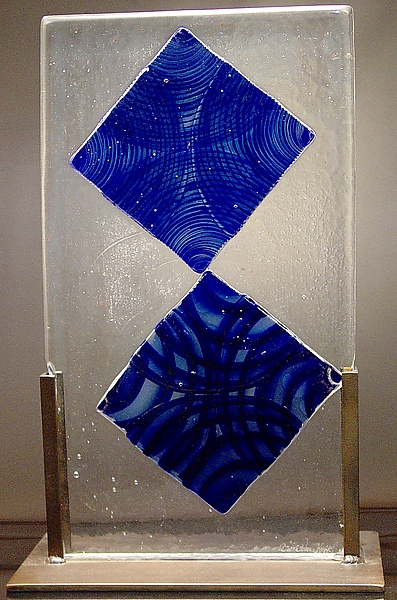 Cast Glass with Blue Diamonds