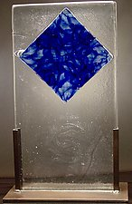 Cast Glass with Blue Diamond by Dierk Van Keppel (Art Glass Sculpture)