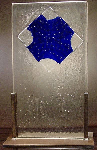 Cast Glass with Blue Bubble Diamond