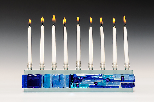Western Wall Gala Menorah in Cobalt