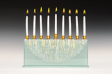 Half Moon Diamond Icicle Menorah by Alicia Kelemen (Art Glass Menorah)