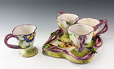 Pansy Cup Set on Vine Tray by Peggy Crago (Ceramic Drink Set)