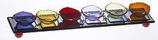 Steps Seder Tray in Iridized Plum by Joel and Candace  Bless (Art Glass Seder Tray)