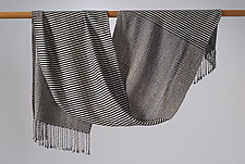 Stripes 1 Shawl in Black and White by Muffy Young  (Silk Scarf)