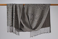 Atitlan Shawl in Black and White by Muffy Young  (Silk Scarf)