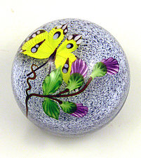 Yellow Butterfly on Gray Speckled Ground by Mayauel Ward (Art Glass Paperweight)