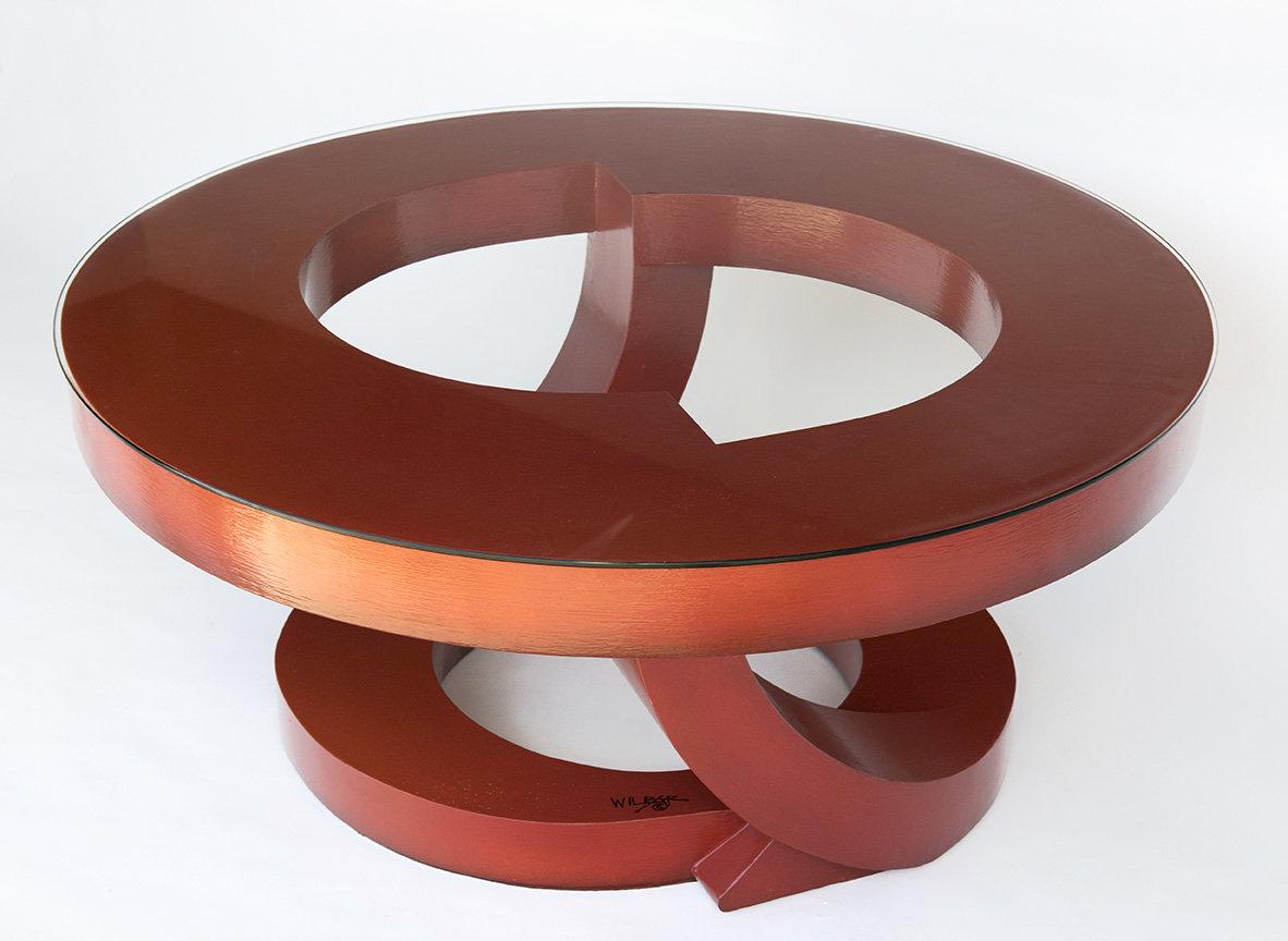 Burnt orange coffee table by john wilbar wood coffee for Orange coffee table