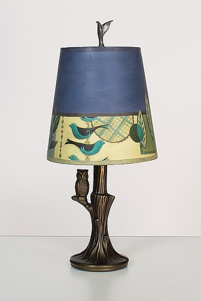 Bronze Owl Lamp with Small Drum Shade in New Capri Periwinkle