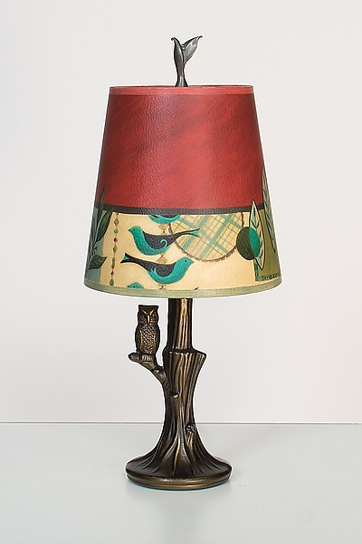 Bronze Owl Lamp with Small Drum Shade in New Capri