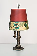 Bronze Owl Lamp with Small Drum Shade in New Capri by Janna Ugone and Justin Thomas (Mixed-Media Table Lamp)