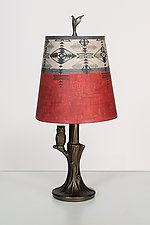 Bronze Owl Lamp with Small Drum Shade in Mesa by Janna Ugone and Justin Thomas (Mixed-Media Table Lamp)