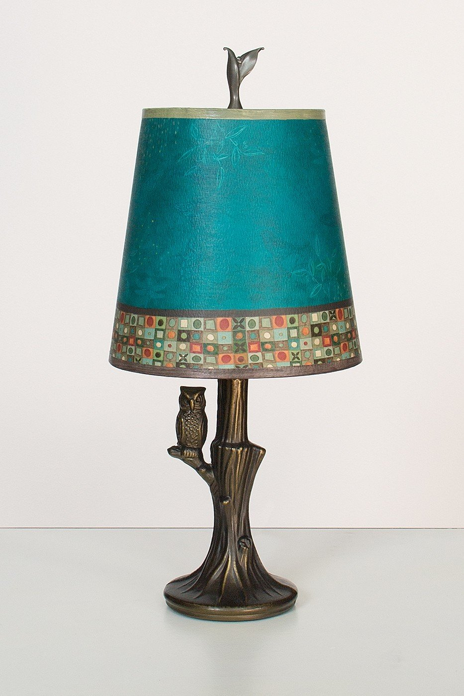 bronze owl lamp with small drum shade in jade mosaic by. Black Bedroom Furniture Sets. Home Design Ideas