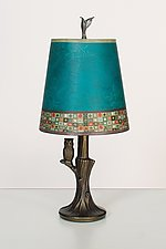 Bronze Owl Lamp with Small Drum Shade in Jade Mosaic by Janna Ugone (Mixed-Media Table Lamp)