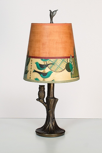 Bronze Owl Lamp with Small Drum Shade in New Capri Spice