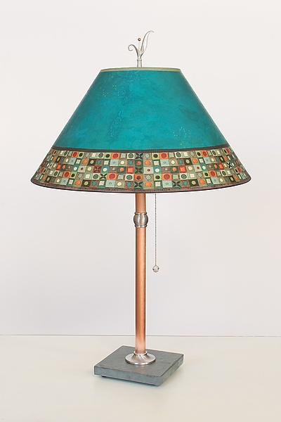 Copper Table Lamp with Large Conical Shade in Jade Mosaic