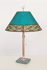 Copper Table Lamp with Large Conical Shade in Jade Mosaic by Janna Ugone (Mixed-Media Table Lamp)