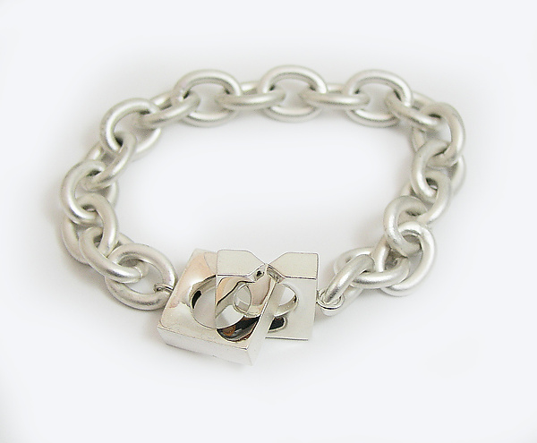 Silver Chain Bracelet with Square Interlocking Clasp