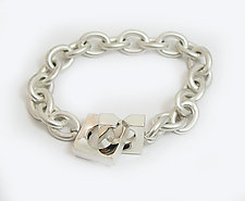 Silver Chain Bracelet with Square Interlocking Clasp by Claudia Endler (Silver Bracelet)
